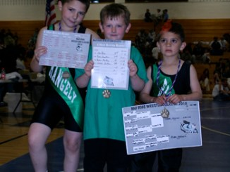 Four Rangely peewee wrestlers competed in the Craig tournament last week and three returned with gold medals. Hunter Hanvey, Byron Mackay and Karver Lopez all won their respective brackets. Sam Tucker also competed but did not place.