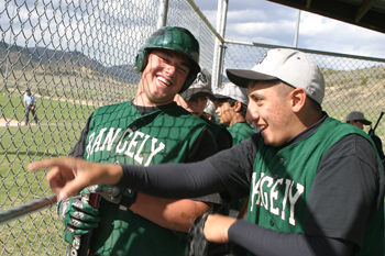 Rangely's Kindal Cushman and teammate Daniel Garcia celebrated after Cushman hit one of his three home runs in the first game of a doubleheader last week against Meeker. The Panthers won both games, but saw their season end at districts.