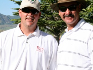 """Chad Luce, left, and Bill de Vergie shot 1-under par both days to win the Mountain Valley Bank two-man best ball tournament last weekend. """"Bill had a great tournament,"""" Luce said of his partner's play."""