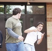 Rangely Senior High students, from left, Patrick Brown and Blake Wanstedt, left school at the end of the day Oct. 7. With the change to a four-day school week, classes meet Monday through Thursday.