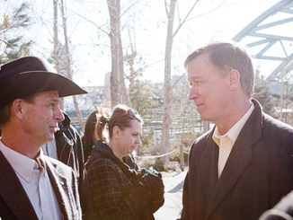 (Above) Blanco District Ranger Ken Coffin and Rio Blanco County Commissioner Kai Turner spoke with Colorado Governor John Hickenlooper at a press conference announcing that the White River National Forest will provide the 2012 Capitol Christmas Tree.