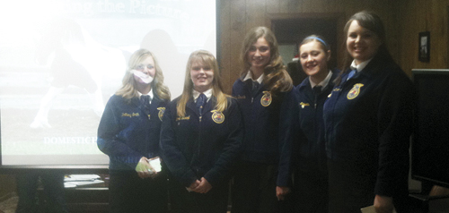 """Meeker High School FFA students presented """"Should the USDA be provided funding to oversee domestic horse slaughter in the United States?""""at the RBC Fair board meeting, Thursday, March 22, 2012. (Left to right) Brittany Smith, Torrie Gerloff, Katie Dinwiddie, Tristan Nielsen, and Kaylynn Dunham."""