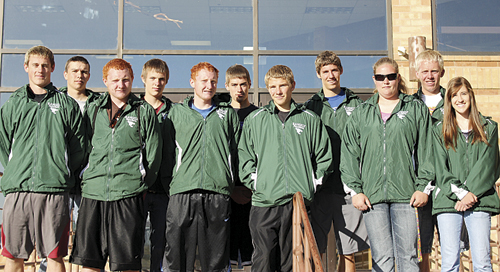 Panthers qualifying for the state track meet this weekend are in back; Colt Allred (alternate), Dylan McCrorey, Conner Phelan, Andrew Morton and William Scoggins. Front row, Colton Coombs, Dale and Tanner Nielsen, Ethan Allred, Holly Lepro and Aimee Hogan.
