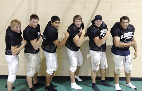 Rangely seniors JoD Stults, Colton Coombs, Chas Byerly, Toby Gasper, Bryson Palacios, and Gabe Garcia, will flex their muscles this year in the 8-man football league and will open the season on the road this Friday in Dove Creek, in a non-conference game. Not pictured is senior Drew Collins.