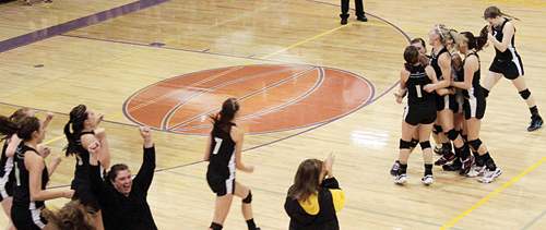 The Meeker volleyball team celebrated after beating No. 1 seed Paonia in the district tournament. Meeker finished second and will play in the regional tournament this Saturday in Telluride.