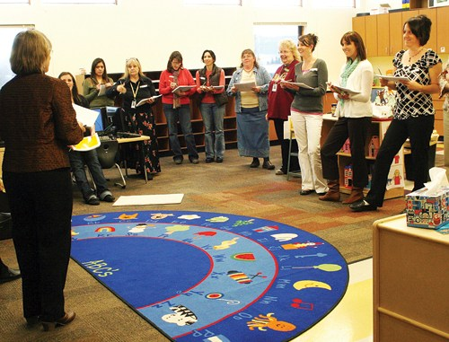 Joni Goodwin of Aspen (left) leads Early Childhood Environment Rating Scale training participants through an assessment of a classroom at the Meeker Preschool on Nov. 19. Connections 4 Kids early childhood council hosted the training to teach early childhood professionals how to use the scale to assess their classrooms. Trained participants will soon be eligible to apply for mini-grants to obtain some materials identified as needs through the self-assessment.