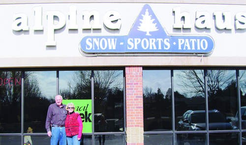 """Meeker resident Nettie Faye Modlin thanks Frank Cooley for taking her son Larry (pictured with his wife Becky) skiing as a boy in Meeker. She's proud her son """"pays it forward."""" As owner of Alpine Haus in Greeley, Larry ran a ski bus service to resorts near Greeley six times a year and was known as """"one of northern Colorado's leaders of recreation."""""""