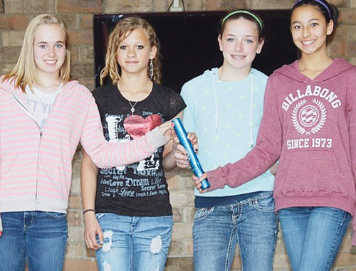 Barone Middle School eighth-graders Peyton Burke, Madison Russell, Halle Ahrens and Loran Casias broke long-standing school records in the 400- and 800-meter relays, two weeks ago in Rifle. The BMS team will run and jump in Eagle on Saturday.