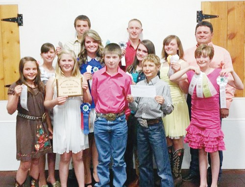 The Rio Blanco County  4-H Livestock Judging Team concluded its season last weekend at the 67th Annual Gunnison County Stockgrowers' Judging Contest. The team finished third place in overall senior team and in overall junior team. Members of the teams are, front row, from left, Marryn Shults, Kenzie Turner, Tannen Kennedy, Cole Rogers and Macy Collins; middle row, from left, Kacey Lapp, Maclaine Shults, Madi Shults and Samantha Lapp; back row, from left, Ty Dunham, Clay Anderson and team leader Clint Shults. Not pictured is Sam Baylie.