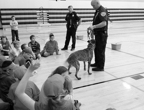 Red Ribbon Week and Drug Awareness took place at Meeker Elementary School from Oct. 21-24. The Meeker Police Department come to school and taught each class about drug awareness and how to make good choices. Meeker Police Lt. Phil Stubblefield and Officer Wes Severson, with his drug dog, Niko, answered questions, gave demonstrations and instructed the students on what they need to know for their safety. Meeker High School Teen Life Skills students assisted in the presentation.