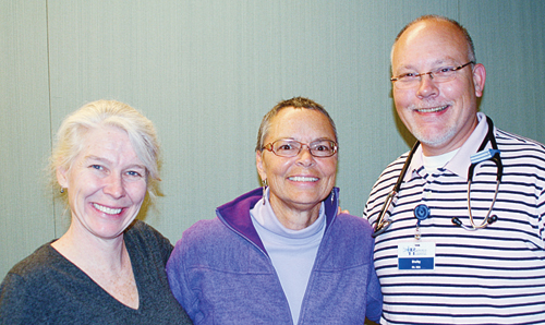 Dr. Katy Rieves, left, Rangely District Hospital's newest physician, has begun seeing patients and getting to know hospital and clinic staff last week. Rieves is the friend and former coworker of Dr. Mercedes Cameron, center, who took a leave from RDH last December after being diagnosed with breast cancer. RDH registered nurse Shelby Lindsay, right, will begin seeing patients early next year after completing board and licensing requirements to become a nurse practitioner. Rieves and Lindsay are two of three health care providers filling slots left by Cameron and Dr. Chris Adams in the last year. A third physician, Dr. Casey Aguirre, has signed a contract to begin at RDH in March.
