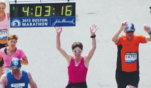 Sarah Ward of Rangely crossed the finish line of the Boston Marathon in 2013, just moments before bombs exploded.