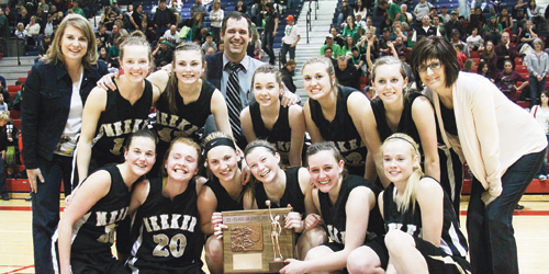 The Meeker High School girls' basketball team ended its season on a winning note with a 62-56 victory against Peyton in the consolation championship of the 2014 2A Colorado State Basketball Championships in Pueblo. The lady Cowboys finished with an impressive 23-3 record. Pictured with the third place trophy are, in front: Piper Haney, Sydney Hughes, Taylor Neilson, Aly Ridings, Deena Norell and Megan Parker. In back: assistant coach Karen Dinwiddie, Taylor Morris, Reece Pertile, head coach Greg Chintala, Jenna Walsh, Alex Duell, Jamie McLaughlin and assistant coach Julie Bowman.