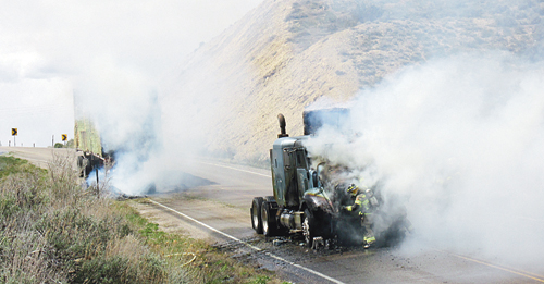 A Reynolds Nationwide semi tractor and trailer out of San Antonio, Texas, caught fire on Melon Hill outside of Rangely Saturday afternoon when hay stacked too close to the semi's exhaust pipe ignited, spreading to other bales and falling onto the tractor as the driver separated it from the trailer.