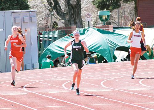 Rangely senior Aimee Hogan ran the 100-meter in 14.34, the 200-meter in 29.52 and the 400-meter in 1:04.33, all personal best times, at the Frank Woodburn Invitational Track Meet at Stocker Stadium in Grand Junction.