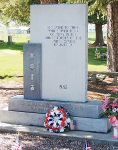 Above is the memorial in Meeker's Highland Cemetery that is dedicated to those who fought in the U.S. Armed Forces. At the foot of the memorial is the traditional wreath that should remind of us of the unknown and known troops who have given their lives during military service to America. The wreath was laid at the foot of the memorial by Pete Kiser, a long-time resident of Meeker and a U.S. military veteran.