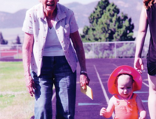 Leota Cook, at 90 years of life, was the oldest supporter on the track for the Save Our Track Walk-a-thon on July 5. She was sponsored by all 11 of her great-grandkids, including McKelivie Cook Lay, the youngest walker at just 1 year old.
