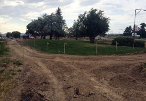 Town of Rangely employees, subcontracted to the Western Rio Blanco Metropolitan Recreation and Park District, cut walkways through Hefley Park in west Rangely last week. The space, which will become a veterans' memorial park, will feature a 1 1/4-life-sized soldier statue created by Meeker artist John Kobald and funded through collaborative efforts of the Meeker and Rangely VFWs, government entities, businesses and individuals in 2012-2013. An identical statue was unveiled on Meeker's courthouse lawn on July 4, 2013.