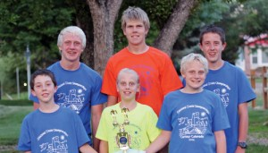 Members of the second-place Rangely Hurricanes swim team are, from left to right: front row: Colton Noel, Mary Scoggins, Timothy Scoggins; back row, Patrick Scoggins, James Scoggins, Caleb Noel.