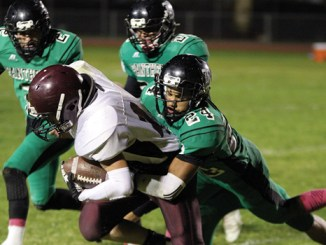 It was a tough tackle administered by Rangely's Luis Contreras, No. 24, as he puts a good hit on the Soroco runner on Friday night as part of Rangely's Homecoming events. Unfortunately, the Rams spoiled the Panthers' Homecoming by a 18-10 margin, and injuries continue to plague Rangely.