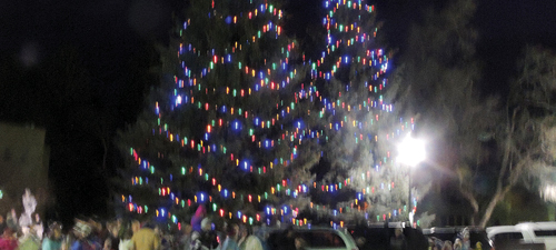 At the annual Meeker Parade of Lights event, the official town Christmas trees were lighted (above) amid a large crowd that enjoyed the parade, the Meeker Elementary School Choir singing Christmas carols and fireworks.
