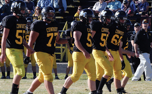 Meeker offensive linemen Chase Rule, Tyler Ilgen, Kash Atwood, Jake Henderson and Noah Overton provided protection for their two quarterbacks to throw for a combined 222 yards, and they blocked for eight teammates who carried the ball for a combined 202 yards. The Cowboys will travel to Buena Vista for the Colorado 1A state semifinals, where the winner will advance to the state championship game against the winner of the game between Resurrection Christian and defending state champion Paonia.