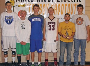 The all-tournament team for the 2014 White River Electric Cowboy Shootout were: Javen Gumber (Fruita), Patrick Scoggins (Rangely), Ro Pascal (Mancos), Warren Hayes (Soroco), Raul Lopez and Ty Dunham of Meeker. Lopez, a senior, led his team to another title and was named the tournament's MVP.