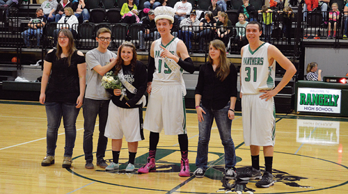 Rangely High School held its Winterfest Week activities along with the crowning of Mr. And Mrs. RHS. The six senior candidates for king and queen are chosen by the staff at RHS for their strong leadership skills, community service projects as well as athletics and academic achievements. This year's king and queen candidates were, from left: Jessica Tolley, Marshal Way, Dawn Stephens, Mitchell Webber, Michelle Gohr and Colt Allred. The RHS royalty were Dawn Stephens and Mitch Webber.