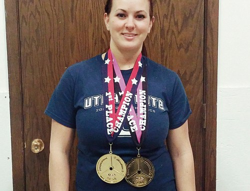 Rangely resident Brittanie Meinzer took first place in her weight class and age division at the American Powerlifting Federation's Utah State Championships and National Qualifier at West Jordan's Elite Performance Gym on Feb. 28. In addition to earning top honors for the highest combined total in squat (198 pounds), bench press (131 pounds) and dead lift (298 pounds), Meinzer, a mother of three, set new personal bests in all three categories.