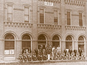 Meeker's Odd Fellows pose in front of their new building.