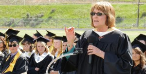 Kathleen Sullivan Kelley, a language arts instructor and the commencement speaker chosen by the the Class of 2015 at Meeker High School, charged the students with not worrying that they come from a small school in a small town in Colorado, and that they can go on to make a difference in the world. Kelley, a former Colorado legislator with several state and professional honors, said anyone from anywhere who makes up their mind that they want to go on and make a difference, just needs to focus on what they want to do, learn how to go about it and move upward from there. There are no limits, she said, on what a Meeker student can go on to do.