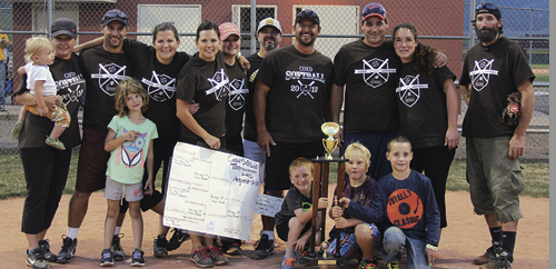 Ace Trucking capped off an undefeated coed softball season with a team title in the season-ending tournament Tuesday night at Paintbrush Park. Ace Trucking entered the tournament as the No. 1 seed and defeated No. 2 seeded New Creation Church in the championship. Pictured are: Emerson and Meredith Deming; Shiloh, Sawyer and Jody May; Ivy Coryell; Bailey Atwood; Brian Merrifield; Ron Kelly Crawford; Donald and Winter Blazon; and Obie Deming. Finley Deming, Clay Randall and Jake Blazon are in front with the trophy.