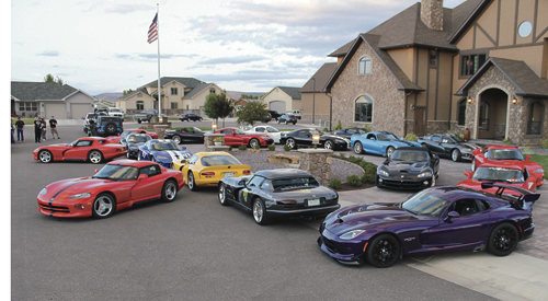 For the second straight year a group of Vipers was in Rangely overnight on Sunday to tour Rio Blanco County and take part in the Septemberfest parade on Labor Day Monday. Eighteen owners of the Vipers were guests of Rangely Mayor Frank Huitt on Sunday evening for a barbecue. The new 2015 Viper is the purple model in front.