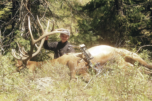 Tristan Kitchen, 14, Windsor, Colo., took this nice bull while hunting with his father, Tom Kitchen, a Meeker High School graduate. The two were hunting up the White River. Tristan is the grandson of James and Judy Byrd of Meeker.