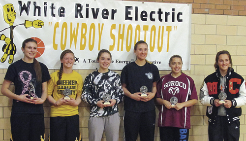 Six girls basketball players were named Saturday to the White River Electric Association's Cowboy Shootout All-Tournament Team. From left to right are all-tournament team members: Reese Pertile of Meeker, Maggie Phelan of Meeker, Katelyn Brown of Rangely, Dakota Bruner of Soroco, Briana Peterson of Soroco and Kiselya Plewe of Cortez.