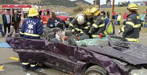 """Nick Burri, a student at Meeker High School, was one of two survivors of the mock triple fatal accident on the Meeker High School campus on Oct. 29. Three students were killed in the """"accident"""" while Burri and the driver, T.J. Shelton, survived. In Thursday's trial, presided over by local judges, the jury of Shelton's peers sentenced him to 32 years in prison. The entire accident scene and trial were witnessed by Barone Middle School eighth graders and all Meeker High School students in an effort to impress the students with the possible gravity of drinking while driving."""
