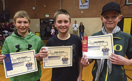 Twenty-eight area youths participated in the 2016 Denver Nuggets Skills Challenge on Jan. 23 in Meeker. Hosted by the ERBM Recreation & Park District, the event featured a basketball skills competition in dribbling, passing and shooting. Youth ages seven years to 14 competed for the chance to advance to the sectionals in Grand Junction on Feb. 21, and ages 5/6 competed for fun. Pictured above, from left to right in the 13/14-year-old age group: Cole Rogers, first, 495 points; Elijah Deming, third place, 275 points; and Lane Anderson, second, with 361 points.