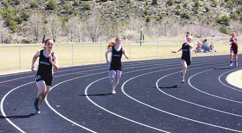At Cedaredge on Saturday, Meeker runners, from left, Sierra Williams, Maggie Phelan and Peyton Burke are seen running the 200-meter dash. Williams was part of the 4x100-meter relay team, which took fourth place; Phelan had a personal best in the 400 meters, where she finished fourth overall; and Burke was part of the 4x100 and 4x200-meter relays, finishing fourth.