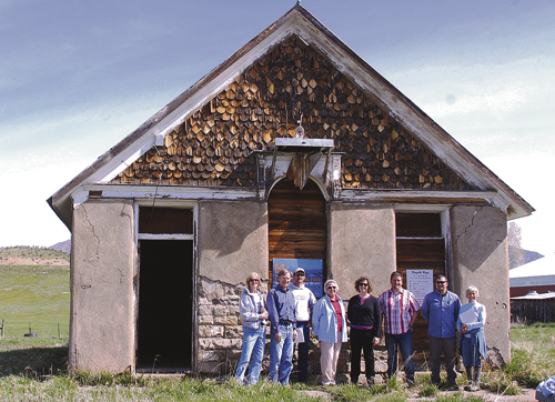 From left to right: Martha Cole, Joede Schoeberlein, Alan Nielsen, Janet Clark, Gheda Gayou, Trevor Everett, Eric Jaquez and Ellen Reichert took part in a pre-construction meeting with all parties involved with the restoration of the Coal Creek School. What each one does: Martha Cole, Janet Clark and Ellen Reichert on the Rural School Committee; Joede Schoeberlein, architect; Gheda Gayou, Colorado State Historical Preservation Specialist; MM-Eight Construction - Trevor Everett and Alan Nielsen; and RBC Project Coordinator Eric Jaquez.