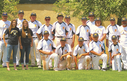 The Meeker Cowboy baseball team won its first postseason game in several years, a 9-2 victory against the Dolores Bears in Cortez on Friday, advancing them to the district championship game against the No. 1-ranked Paonia Eagles, which they lost. Meeker finished the season with an 8-12 record. Pictured in the back row, from left, are: assistant coach Donald Blazon, volunteer coach Matt Frantz, Logan Hughes, Cooper Meszaros, Nick Burri, Ty Gibson, Trapper Merrifield, Eli Newman, Uri Goedert, Garrett Frantz, Coach Brian Merrifield. Front row, from left, are: team managers Briar Meszaros and Taylor Dodds, Doak Mantle, Hunter Garcia, Eli Hanks, Lou Villalpando, CJ Wangnild.