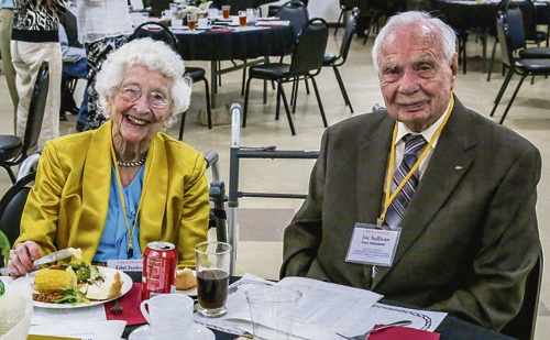 Part of the fun of each Old Timers' gathering each year is to make special note of the oldest man and woman at the dinner and dance. Holding that distinction for many years has been the couple of Ethel Starbuck, left, who is a young 98 years old, and Joe Sullivan, right, a mere 96 years of age.