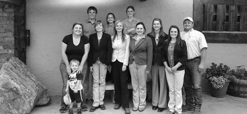 Rio Blanco County 4-H members competing at CSU were: front row from left: Sylvia Smith holding Blake Smith, Macy Collins, Jilly Bumguardner, Madelyn Medlin, Emily Silva, Madi Shults and coach Clint Shults. Back row from left: Ty Dunham, Kayla Scott and Hailey Scott.