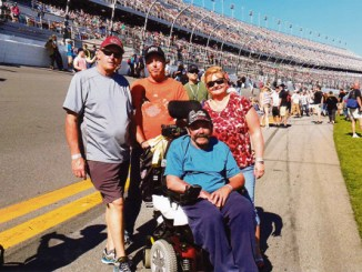 Mike Worrall, Mitch Cochran, Rangely's Don Worrall and Leigh Worrall can be seen here on the Daytona 500 raceway prior to this year's Daytona 500, held in February. The trip to the Dayton 500 was the culmination of a lot of hard work, lots of friends and a dream Don Worrall thought he would never see fulfilled.