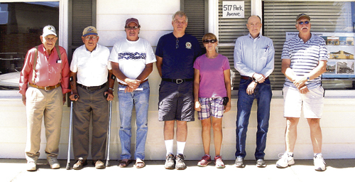 The Rio Blanco County Historical Society honored the Meeker Fire Department with a historical presentation on Sunday afternoon. Seven firemen, past and present, attended the lunch and presentation, and they included, from left, Glen Wiggington, Dale Frisby, Brian Conrado, current Assistant Fire Chief Vaughn Moody, Patti Merriam (EMT), Joe Fennessy and Gary Merriam.