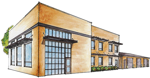 This is the architect's drawing of the new Meeker Fire House addition. The three bays at the back of the building already exist and will be retained. Only the front portion will be new construction.