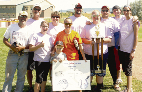 Team Ripped Shorts are the 2016 champions of the ERBM Recreation & Park District Adult Coed Softball Tournament held in Meeker on Aug. 13. Team ERBM was second and Team New Creation Church of Meeker was third. Pictured left to right are champs: Greg Chintala, Bill deVergie, Amanda Jessop, Kathy deVergie, Troy Browning, Jessica Browning, Brady Jensen, Samantha Wilson, Brandon Gorney, Matt Gregory and Kris Casey.