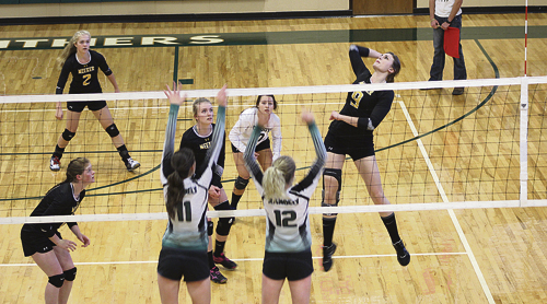 Bobby Gutierrez photo The Meeker girls' volleyball team lost their Homecoming match to Paonia last Friday, but beat their league rivals, the Rangely Panthers, in Rangely on Saturday. Resse Pertile had 11 kills against Rangely and the team had a 95 percent serving record.