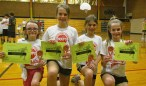 """Fifth- and sixth-grade champion girls' team: """"Sassy Girls"""" consisting of Ellie Hossack, Vivian Brown, Jayda May and Wagner Brown. The team donated to the Meeker Animal Shelter."""