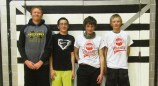"""Seventh- and eighth-grade boys' champion team: """"LBJR"""" consisting of Ryan Phelan, Brayden Garcia, Jeremy Woodward and Lane Anderson. The team donated to the Meeker Animal Shelter."""