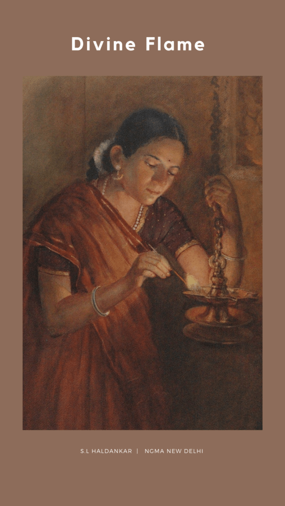 woman-lamp-diwali